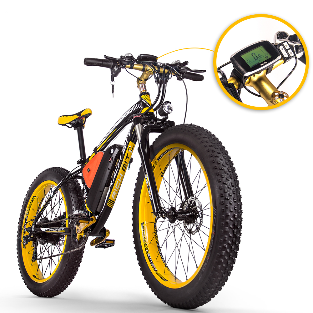 2020 New RICHBIT TOP-022 48V 1000W 17Ah 21-Speed Mountain Snow Electric Bike Fat Tire 26inch Electric Bicycle Bicicleta
