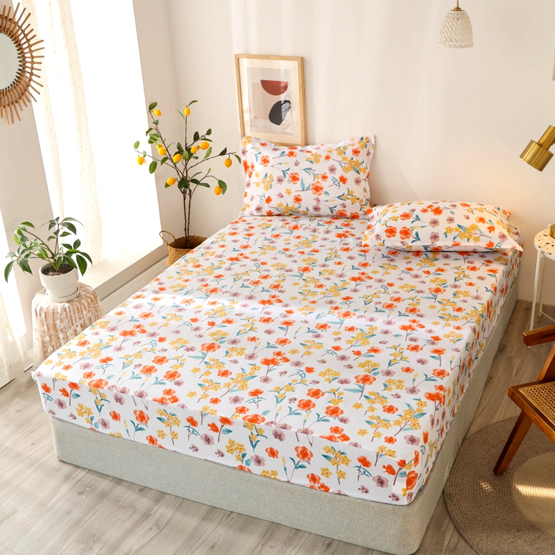 Bonenjoy 3 pcs Fitted Bed Sheets Single drap de lit Geometric Pattern Stitching Mattress Cover with elastic For Double Bed Sheet 13