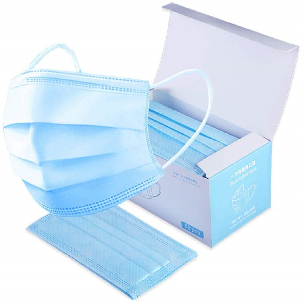 In Stock 50pcs/box KN90 Safe Breathable Mouth Mask Disposable Ear Loop Face Masks Anti-dust For Kids Adult Filter Mask Blue