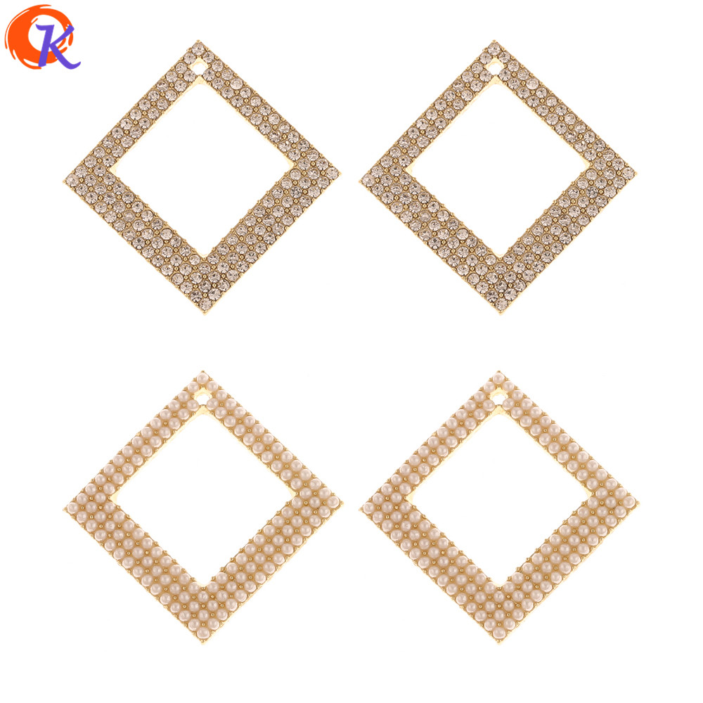 Cordial Design 30Pcs 34*34MM Jewelry Accessories/Hand Made/Charms/Imitation Pearl/Square Shape/DIY Making/Earring Findings