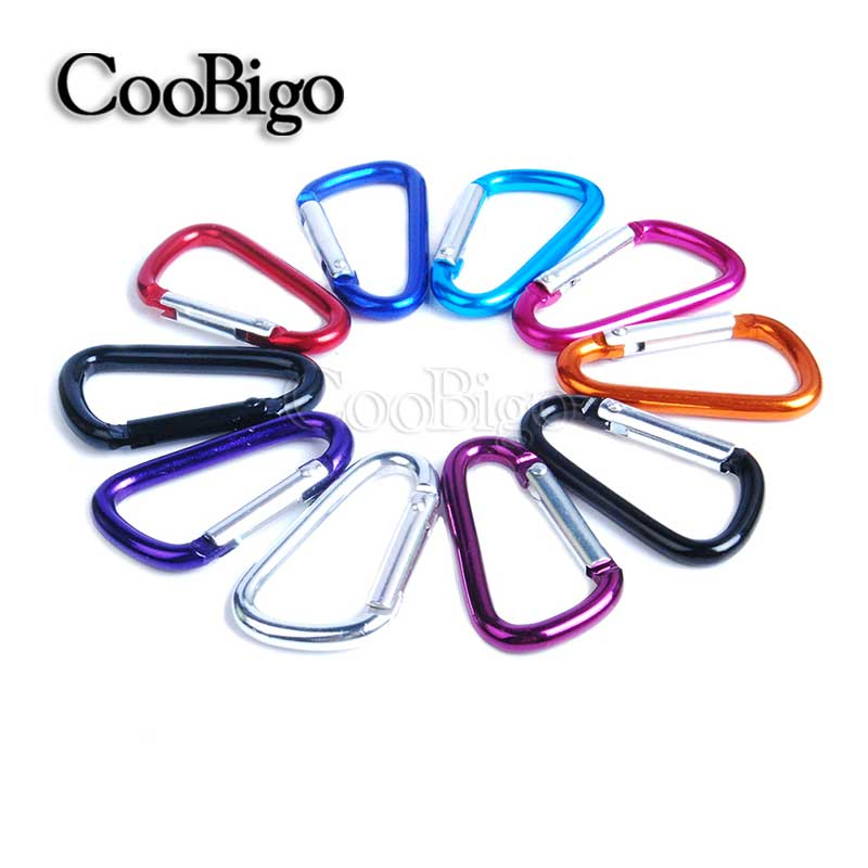 2pcs Multicolor Aluminum Carabiner D-Ring Key Chain Spring Carabiner Snap Clip Hook Camping Keyring Water Bottle Parts