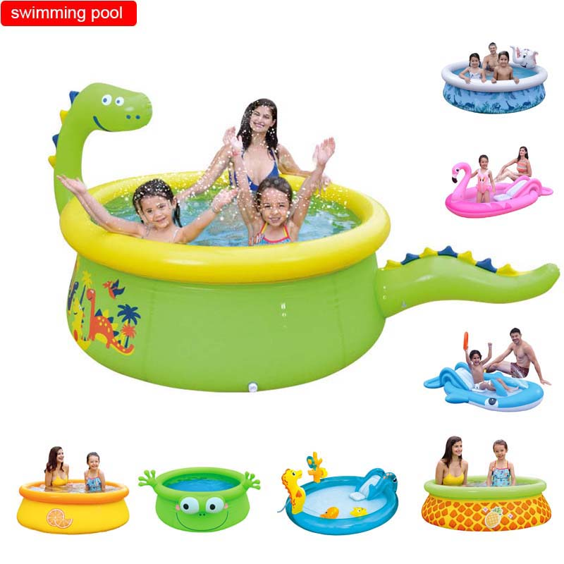 Swimming Pool Inflatable Water Spray Cartoon Animal Play Pool Unicorn Dinosaur Shark Whale Flamingo Playing Pool Top Ring