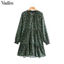 Vadim feminino chique floral padrão mini vestido reto laço manga longa feminino retro bonito básico causal vestidos qd075