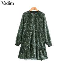 Vadim women chic floral pattern mini dress straight bow tie long sleeve female retro cute basic causal dresses QD075