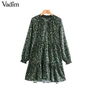 Image 1 - Vadim women chic floral pattern mini dress straight bow tie long sleeve female retro cute basic causal dresses QD075
