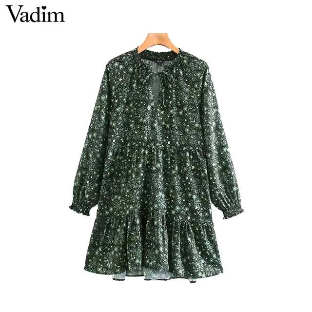 Vadim women chic floral pattern mini dress straight bow tie long sleeve female retro cute basic causal dresses QD075