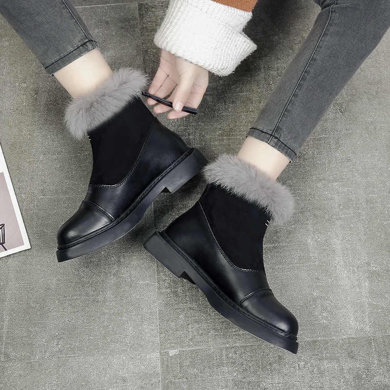 Fujin kadın kar botları kürk peluş sıcak yarım çizmeler kadınlar için deri platform patik kış ayakkabı yüksek kalite kadın bayanlar