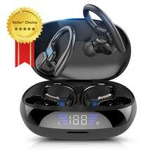Наушники беспроводные Bluetooth наушники Спортивная игровая гарнитура TWS наушники с микрофоном 9D стерео Бас 5,0 светодиодный дисплей Тип C