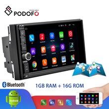 Podofo Android araba multimedya oynatıcı 2 Din 7 dokunmatik ekran araba radyo ses Bluetooth MP5 oynatıcı GPS ayna bağlantı WIFI FM radyo