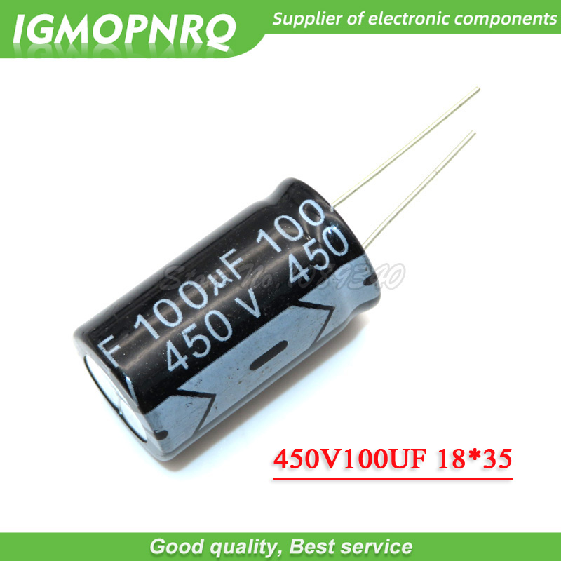 5PCS 450V100UF 100uf450v 18*35 <font><b>450v</b></font> <font><b>100uf</b></font> 18x35 Electro Electrolytic <font><b>capacitor</b></font> image
