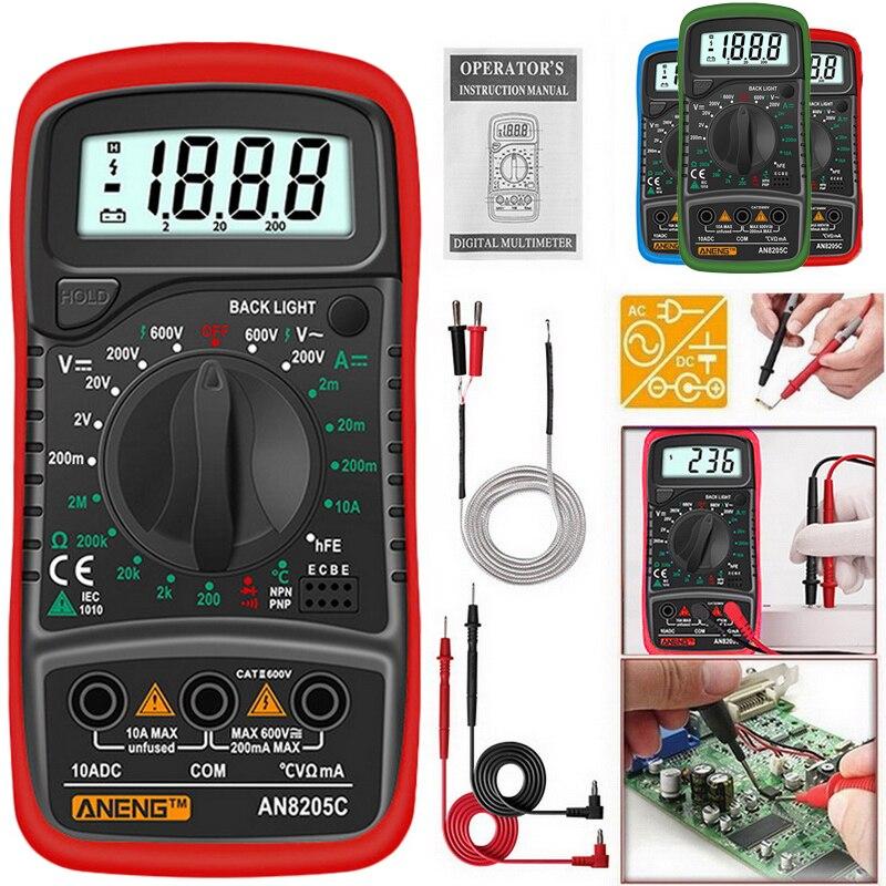 AN8205C цифровой мультиметр AC/DC амметров Вольт Ом тестер Измеритель Multimetro с термопарой ЖК подсветкой Портативный|Мультиметры|   | АлиЭкспресс