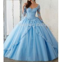 Vestidos Vintage de quinceañera azul menta para 15 años, cuello redondo, apliques de encaje, vestido de baile barato, quinceañera, vestidos de graduación togas