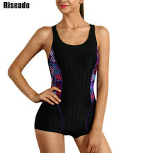 Riseado Racer Back One Piece Swimsuit 2020 Swimwear Women Sport Competitive Swimming Suits for Women Patchwork Bathing Suits