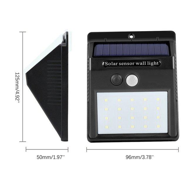 Wasserdicht 20 LED Solar Lichter Motion Sensor Wand Licht Outdoor Garten Hof Lampe 6