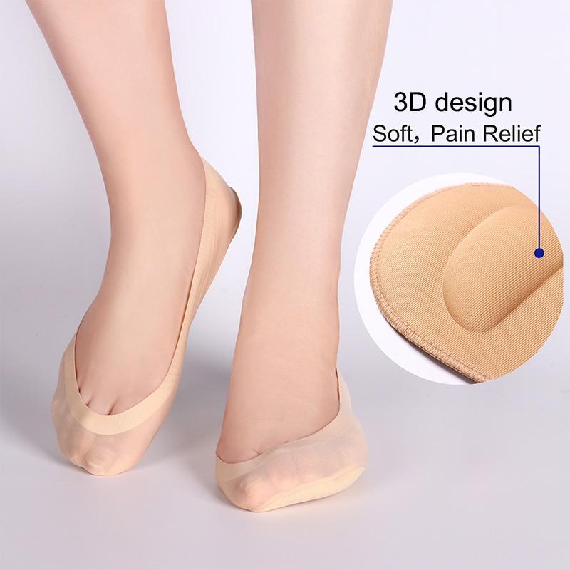 1/2Pairs Damen 3D Boot Socken Atmungsaktive Kissen Bogen Fuß Massage Gesundheit Pflege Unsichtbare Socken Silikon Anti-off Seide Boot Socken