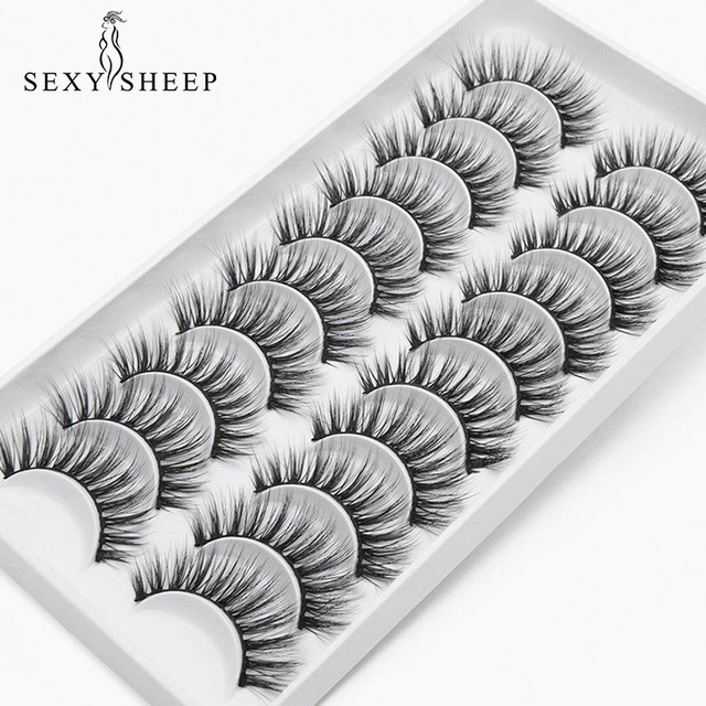 8/10 Pairs Eyelashs Natural long 3D Faux Mink Eyelashes Thick HandMade Full Strip Lashes Volume Soft Mink Lashes False Eyelashes