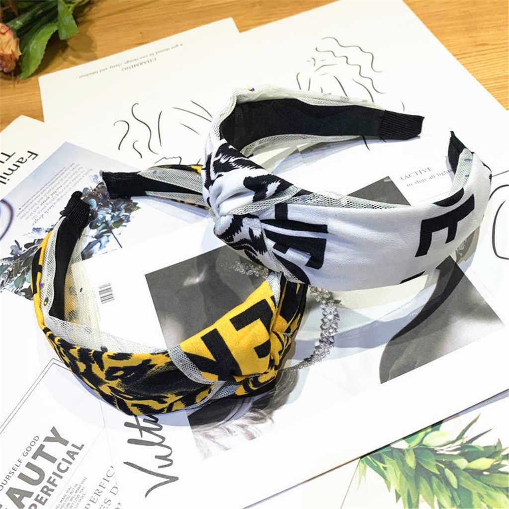 ผ้าง่ายแถบคาดศีรษะ Cross ผ้าฝ้ายนุ่มตาข่าย 1PC พิมพ์ Tie Knot Turban Hairband สบายสาวริมทะเลของขวัญหวาน Headband
