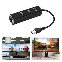 USB3.0HUB + Gigabit Network Card Hub 3 Ports USB 3.0 Gigabit Ethernet LAN Rj45 Network Adapter Hub to 1000mbps winyao wy576t2 pci e x1 dual port server adapter copper rj45 gigabit 1000mbps ethernet network card for 82576 e1g42et lan