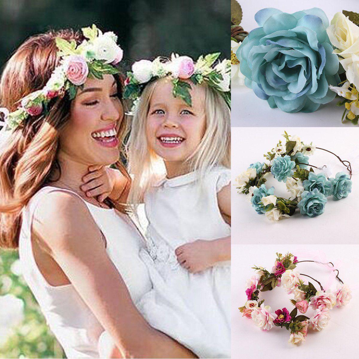 Womens Floral Fall BOHO Headband Mother-Child Hair Hoop Flower Festival Wedding Girl Beach Hair Wreath Cute Wedding Decoration