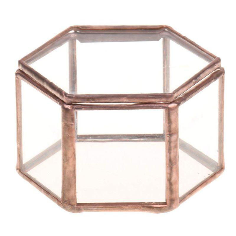 Ev ve Bahçe'ten Saksı ve Ekiciler'de Geometrik cam teraryum kutusu mücevher kutusu cam etli saksı Deco altıgen şekil title=