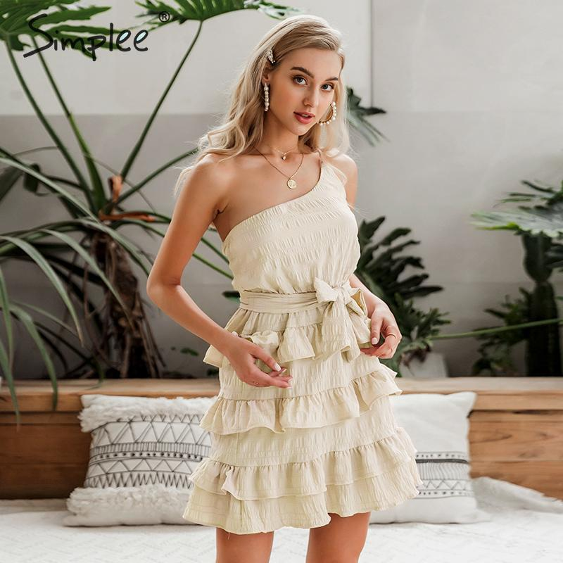 Image 3 - Simplee Sexy one shoulder spaghetti strap women summer dress A line female ruffle cotton short sundress Beach holiday mini dressDresses   -