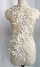 Color 3D flower mesh gauze embroidery fabric lace dress cloth patch gold cream patch repair wedding dress patch off white patch