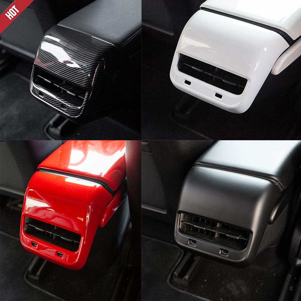 For Tesla Model 3 Model Y Car Accessories Interior Carbon Fiber ABS Rear Air Vent Outlet Cover Trim  Model3  Model Y Three