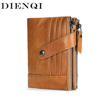 DIENQI Vintage Men Wallet Genuine Leather Short Wallet Rfid Multifunctional Slim Zipper Male Purse Coin Pocket Card Holder Walet vintage rfid wallets 100% genuine leather men short wallet for cards male coin purse card holder pocket double zipper design