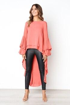 Women Lantern Sleeve Front Short Back Long Top High Neck Loose Asymmetrical Hem Tunic Lady Casual Fishtail Shirt D30