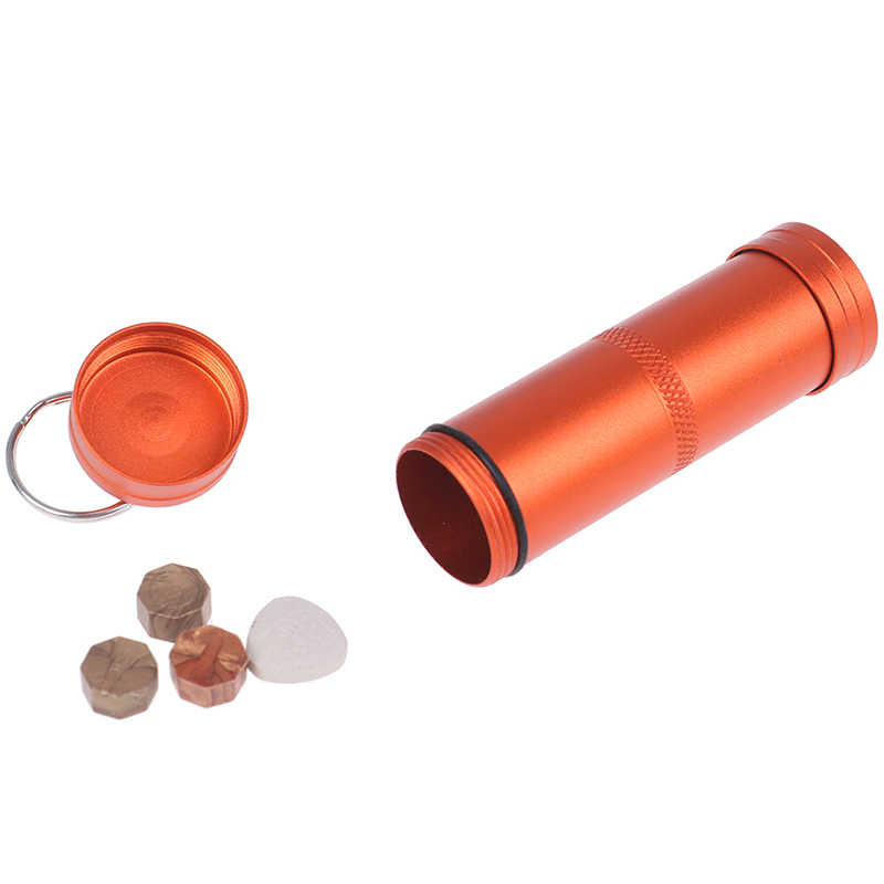 1PC Mini Waterproof Capsule Seal Bottle Outdoor EDC Survival Pill Box Tank Case 3 Colors