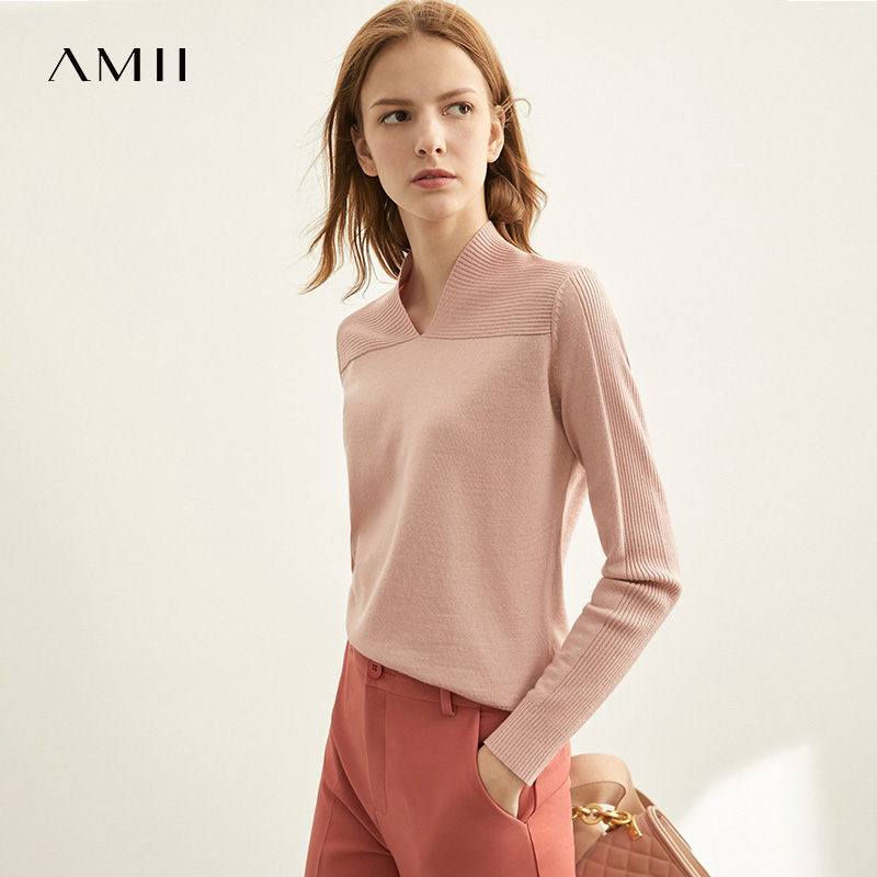 Amii Spring Vneck Knit FrenchShirt Women's Autumn Causal Full Sleeves Sweater Thin Tops 11970480