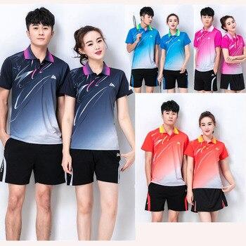 Быстросохнущая футболка для тенниса, Спортивная рубашка для бадминтона для мужчин/женщин, v-образный вырез для настольного тенниса, игровая...