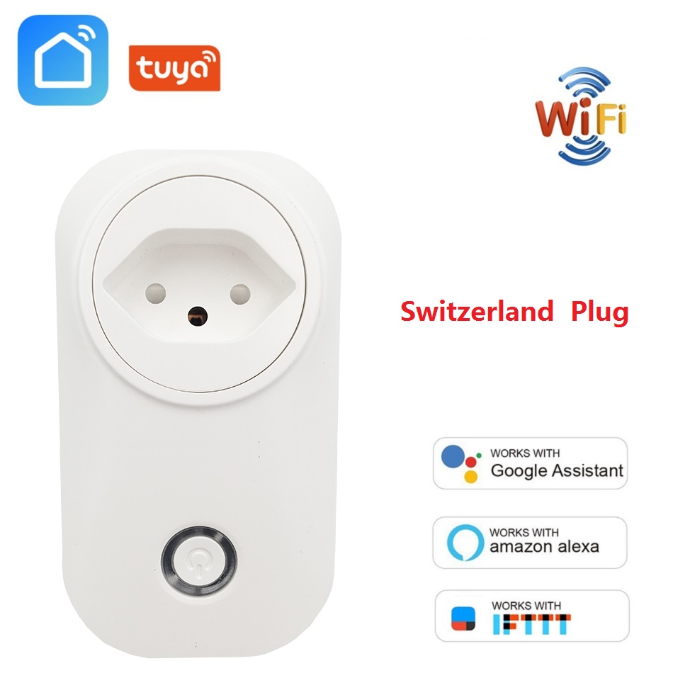 Switzerland Plug WIFI Smart Socket Wireless CH Outlet Tuya Smart Life Power Monitor For Alexa Google Home IFTTT