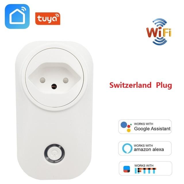 Switzerland Plug WIFI Smart Socket Wireless CH Outlet Tuya Smart Life Power Monitor For Alexa Google Home IFTTT