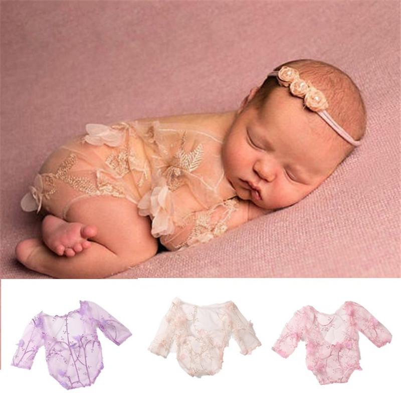 Newborn Baby Girl Lace Romper Bodysuit Headband Outfit Photography Props Costume