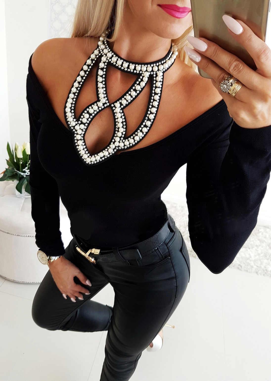 Hirigin Женская мода с открытыми плечами, украшенная бусинами, длинный рукав, облегающая блузка, топы, новинка 2019, осенние женские сексуальные рубашки на бретелях с бриллиантами