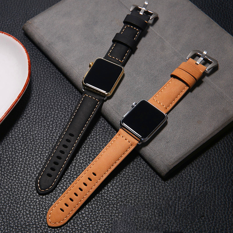 Genuine Leather strap For <font><b>Apple</b></font> <font><b>Watch</b></font> Band 44 mm 40mm iWatch band 38 mm <font><b>42mm</b></font> Retro watchband <font><b>pulseira</b></font> <font><b>Apple</b></font> <font><b>watch</b></font> series 5 4 3 <font><b>2</b></font> image