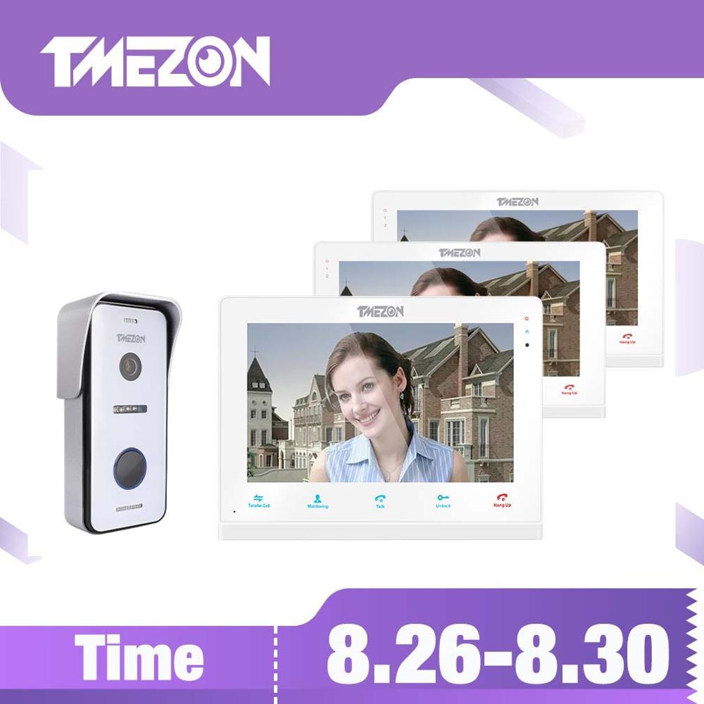 TMEZON Campainha Intercom Sistema de Vídeo IP Wi-fi Sem Fio Inteligente, 10 Polegada + Monitor com 1 2x7 Polegada x 720P Câmera Do Telefone Da Porta Com Fio