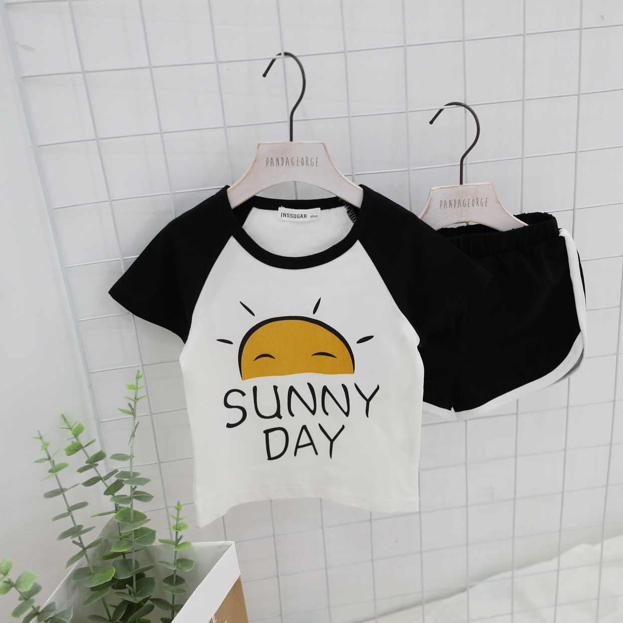 วันเกิด tee 2019 ฤดูร้อนน้องสาวเด็กชายและเด็กหญิงการ์ตูน raglan แขนเสื้อยืดกางเกงขาสั้นสบายๆชุดนอน