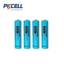 4PCS PKCELL ICR 10440 3.7V 350mAh AAA Batteria Ricaricabile Li Ion batterie AAA pulsante in alto Per La Torcia Elettrica