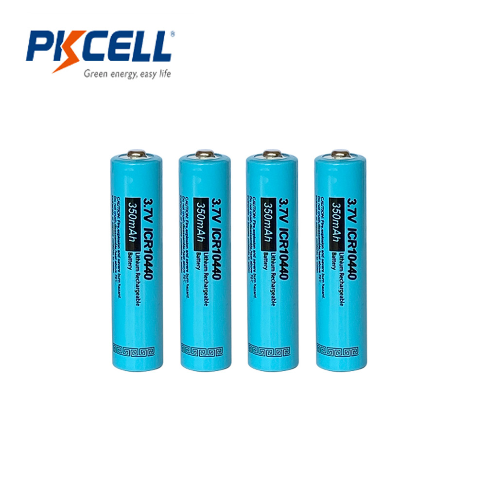 4PCS PKCELL ICR 10440 3.7V 350mAh AAA Rechargeable Li-ion Battery AAA batteries button top For Flashlight image