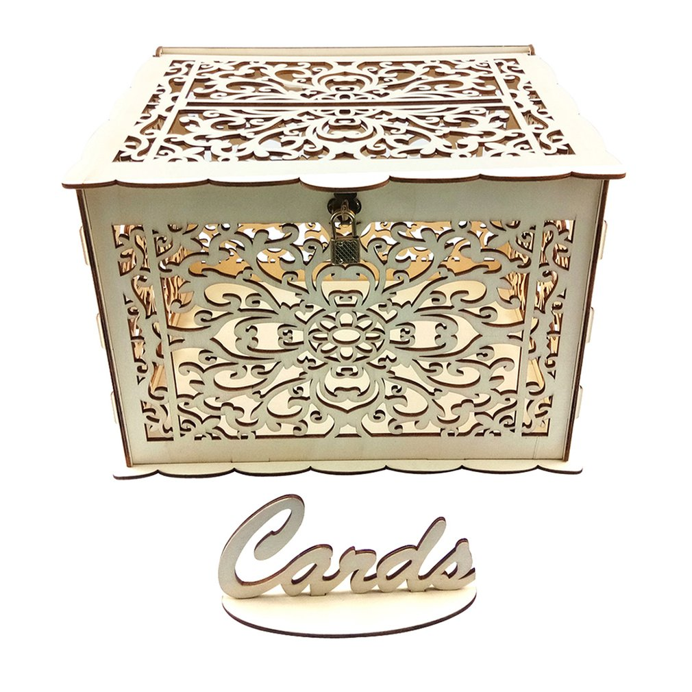 Diy Rustic Wedding Card Box With Lock And Card Sign Wooden Gift Card Box Money Box Birthday Graduation Party Decorations