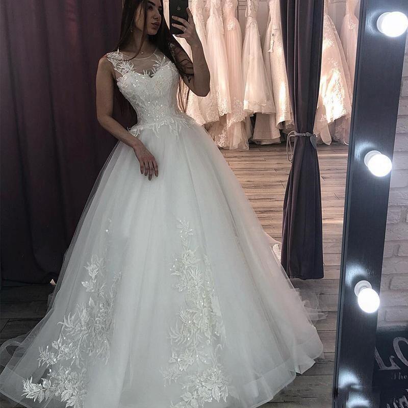 Gorgeous Ball Gown Wedding Dresses 2020 Vestido De Noiva Cap Sleeve Applique Tulle Wedding Bridal Gowns Back Zip With Buttons