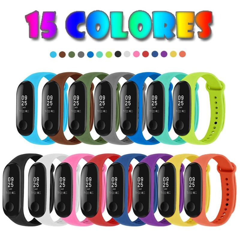 15pcs Silicone Replacement Watchband Wrist Strap Bracelet Moderate Softness Comfortable To Wear Durable For Xiaomi Mi Band 4 3