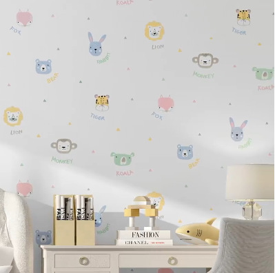 South Korea Cartoon Environmentally Friendly Tasteless Baby Bedroom Wallpaper CHILDREN'S Clothing Store Kindergarten Cute Zoo Ch
