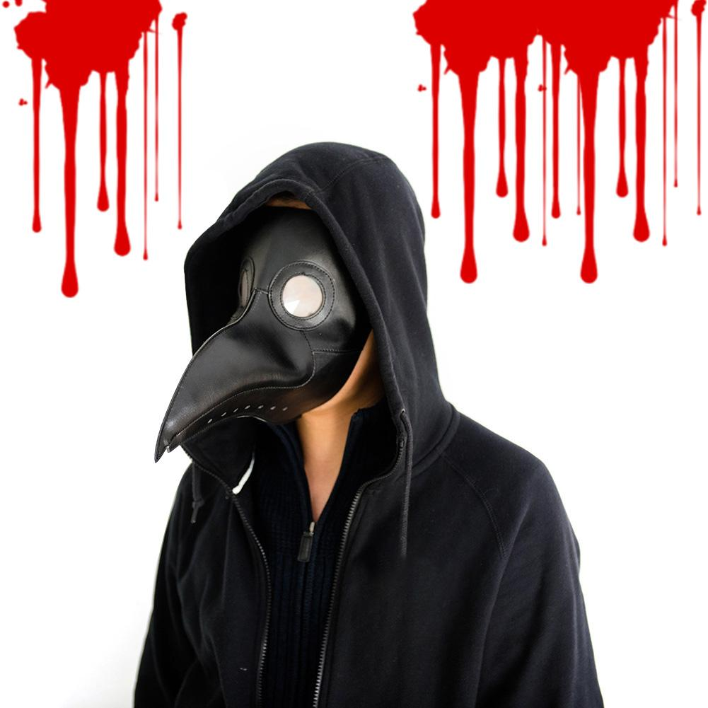 Halloween Plague Doctor Bird Mask Black Full Head Mask Long Nose Steampunk Cosplay For Halloween Party Accessories