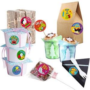 Image 5 - 500 szt. Naklejki dla dzieci rolka naklejek dla dzieci motywacyjne okrągłe naklejki z słodkie zwierzaki na powrót do szkoły