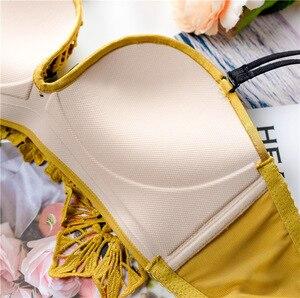 Image 5 - Zima nowy seksowny haft koronkowy kwiat bielizna damska zestaw majtek bez drutu głębokie V komplet biustonosz Push Up młoda dziewczyna bielizna majtki zestaw