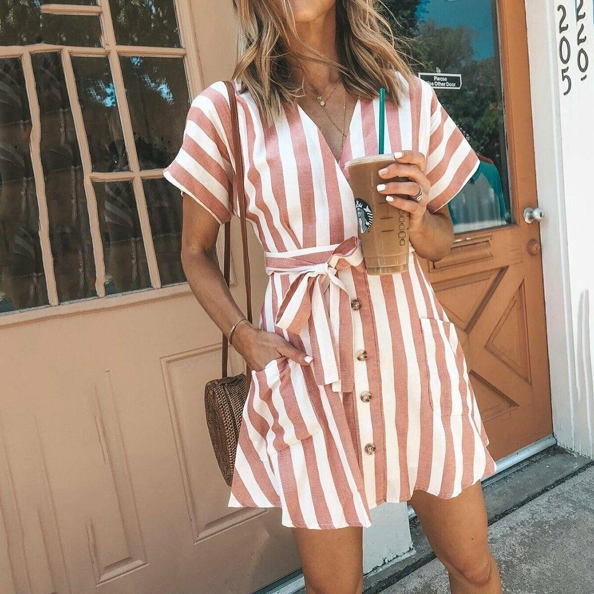 Women Summer Striped V Neck Dress Casual Button Short Sleeve Loose Dress Fashion Women Clothes Mini Sundress