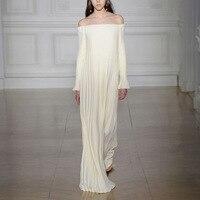 Elegant Sexy Off Shoulder Pleated Long Maxi Dress Women Spring Summer Long Sleeve Floor Length Runway Designer Luxury White Robe
